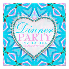 Pink Blue Mandala Bohemian Dinner Party Invitation