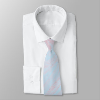 Pink blue  marble abstract cotton candy   neck tie