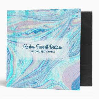 Pink & Blue Marble Swirls 3 Ring Binder