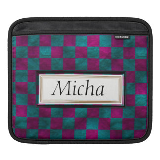 Pink & Blue Marbled Checkerboard Monogram iPad Sleeve