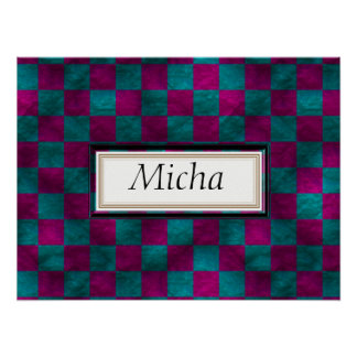 Pink & Blue Marbled Checkerboard Monogram Poster