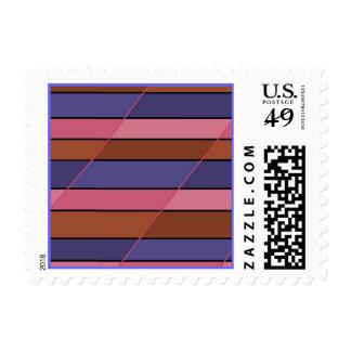 Pink Blue Maroon Brown Tan Stripes Postage
