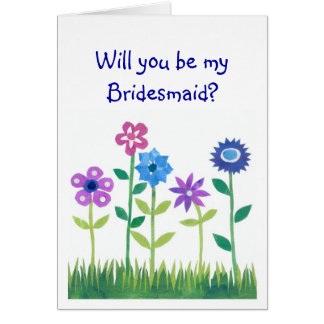 Pink, Blue, Mauve Flowers Bridesmaid Request Card