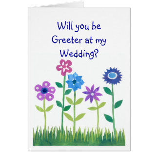 Pink, Blue, Mauve Flowers Greeter Request Card