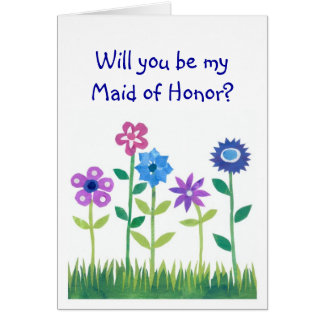 Pink, Blue, Mauve Flowers Maid of Honor Request Card