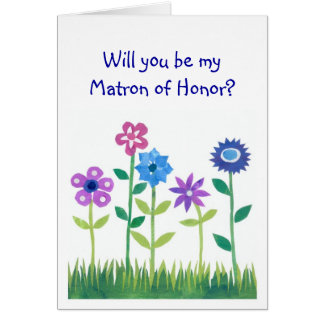 Pink, Blue, Mauve Flowers Matron of Honor Request Card