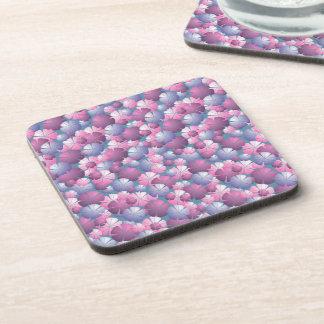 Pink Blue Mauve Purple Floral Cork Coaster