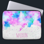 "Pink blue modern watercolor brushstrokes splatters laptop sleeve<br><div class=""desc"">A personalized,  custom monogram on a vibrant colorful abstract watercolor paint background with paint splatters and hand painted watercolor wash. An artistic bright design with a hand lettering style font</div>"