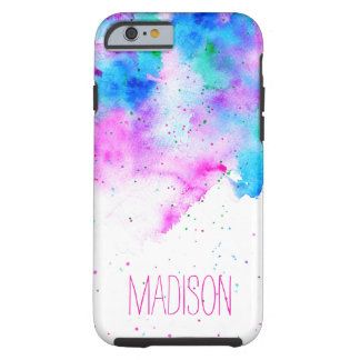 Pink blue modern watercolor brushstrokes splatters tough iPhone 6 case
