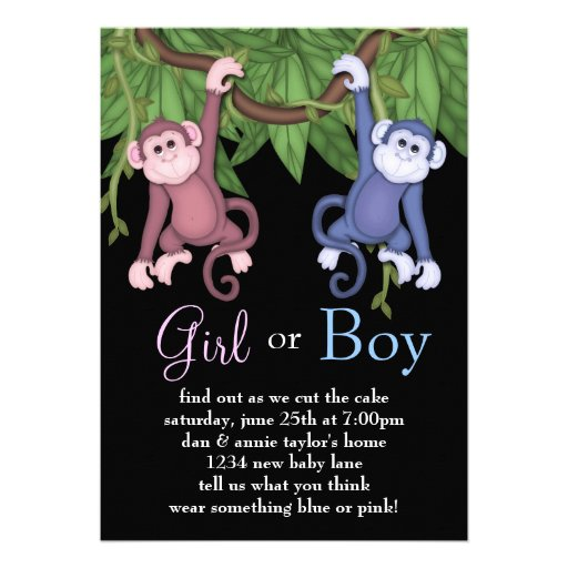 Pink Blue Monkey Gender Reveal Party Invitations