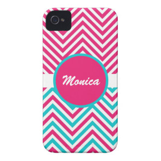 Pink blue monogram chevron iPhone 4 covers
