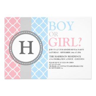 Pink/Blue Monogram Gender Reveal Invitation