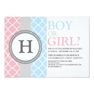 Pink/Blue Monogram Gender Reveal Invitation Custom Invitation