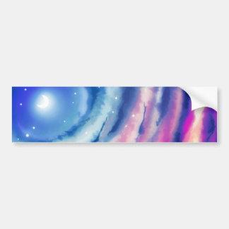 Pink Blue Moon Sunset Bumper Sticker