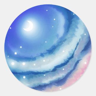 Pink Blue Moon Sunset Classic Round Sticker
