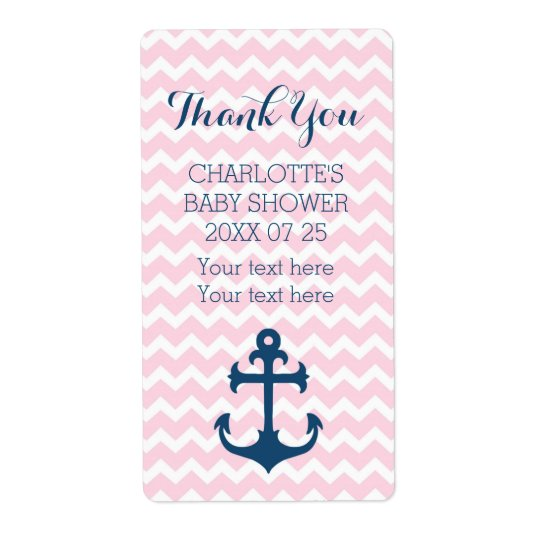 Pink Blue Nautical Baby Shower Favor Labels Zazzle