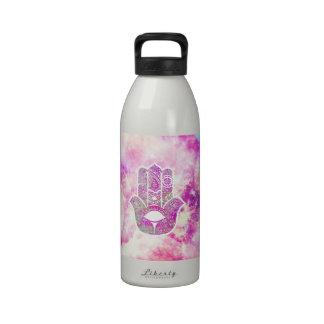 Pink Blue Nebula Hamsa Hand Of Fatima Drinking Bottle
