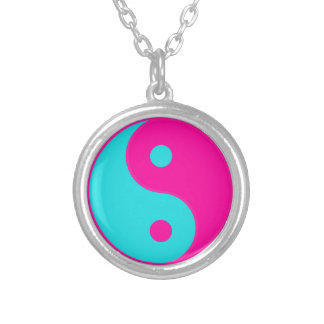 Pink/ Blue Neon Yin Yang Silver Plated Necklace