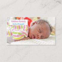 Pink & Blue Newborn Photography Baby Photographer Business Card