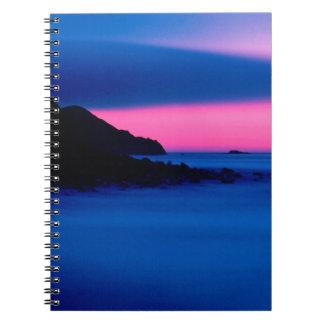 Pink / Blue Ocean Sunset Landscape Note Books