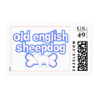 Pink & Blue Old English Sheepdog Postage Stamps