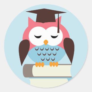 Pink/Blue Owl Classic Round Sticker