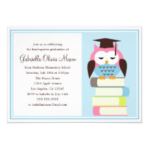 Pink/Blue Owl Graduation Party Invitation