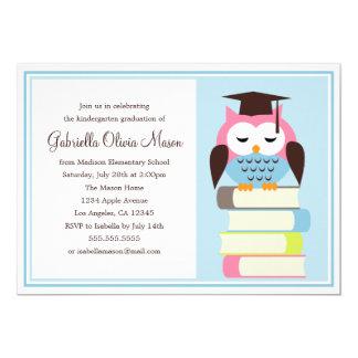 Pink/Blue Owl Graduation Party Invitation