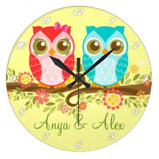 Pink & Blue Owls - Custom Wall Clock
