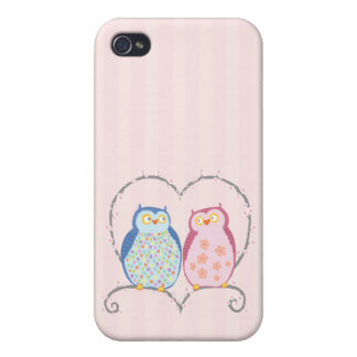 Pink Blue Owls  iPhone 4/4S Covers