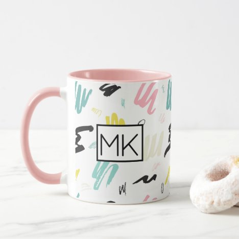 Pink, Blue Pastel Art Paintbrush Stroke Coffee Mug