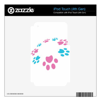 Pink Blue Paw Print Pet Pattern iPod Touch 4G Decals