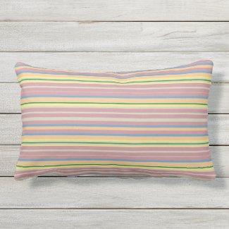 Pink, Blue, Peach, Yellow Stripe Lumbar Pillow