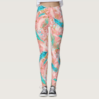 Pink Blue Peacock Feathers Women's Leggings