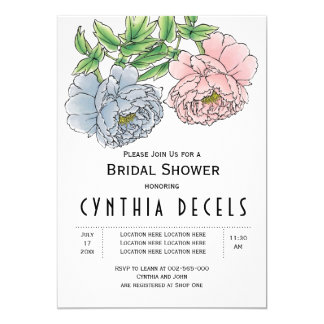 Pink blue peony flowers wedding bridal shower card