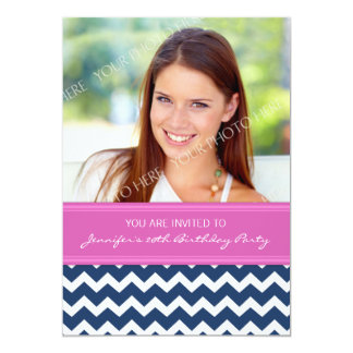 Pink Blue Photo 20th Birthday Party Invitations