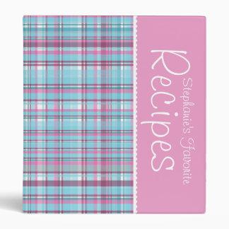 Pink & Blue Picnic Plaid Personalized Recipe 3 Ring Binder