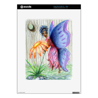 Pink Blue Pixie Fairy PickingFlower Drawing Sketch iPad Decal
