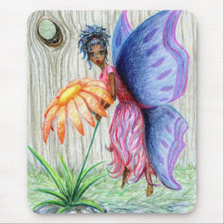 Pink Blue Pixie Fairy PickingFlower Drawing Sketch Mouse Pad