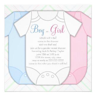 Pink Blue Plaid Gender Reveal Baby Shower Invitations