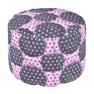 Pink/blue polka dot quilt pattern round Pouf