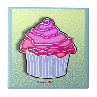 Pink & Blue Pop Art Cupcake Tile