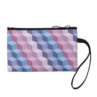Pink Blue Purple 3D Step Cube Pattern Coin Clutch