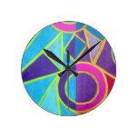 Pink Blue Purple Abstract Art Geometric Design Clocks