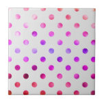 Pink Blue Purple Rainbow Metallic Faux Foil Polka Ceramic Tile