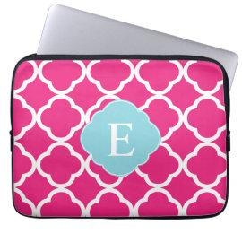 Pink Blue Quatrefoil Monogram Computer Sleeves
