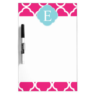 Pink Blue Quatrefoil Monogram Dry Erase Board