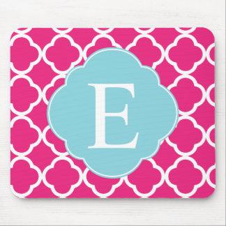 Pink Blue Quatrefoil Monogram Mouse Pad