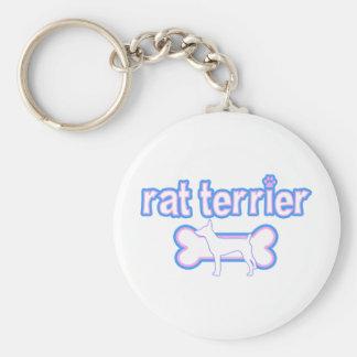 Pink & Blue Rat Terrier Keychain