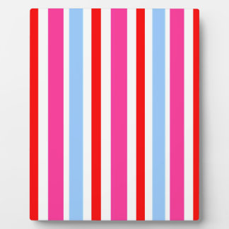 Pink Blue Red Stripes Pattern Plaque